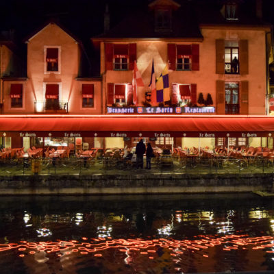 Reflections at night in Annecy